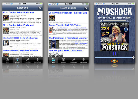 iPhone/iPod touch App Screenshots: 3 iPhone/iPod touch screenshots of the Doctor Who: Podshock Podcast Companion App
